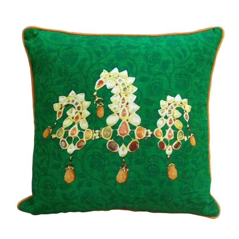 Jewels of India Green Pure Silk Handmade Cushion Cover - 40x40cm