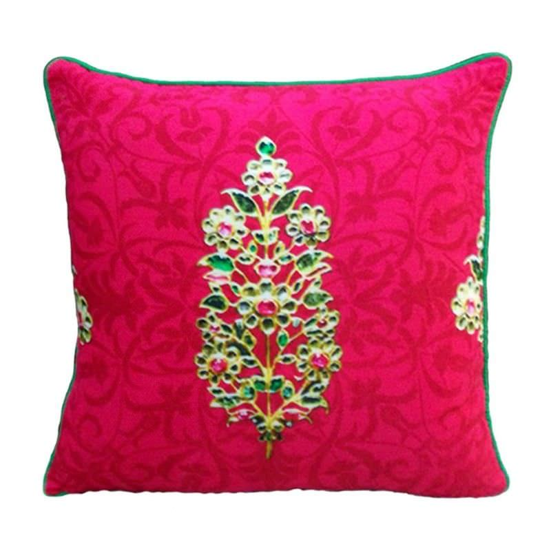 Jewels of India Red Pure Silk Handmade Cushion Cover - 40x40cm