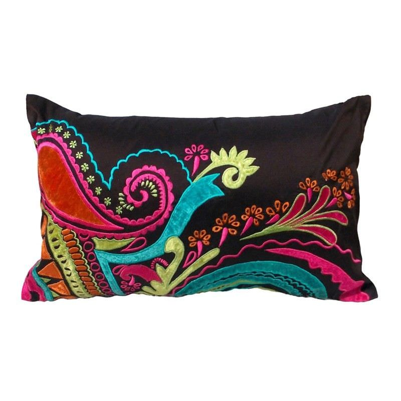 Abeer Embroidered Espress Poly Taffeta Handmade Cushion Cover - 30x50cm