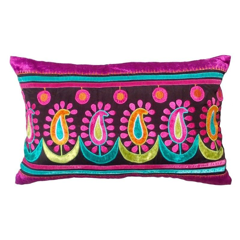 Pachai Embroidered Espress Poly Taffeta Handmade Cushion Cover - 30x50cm