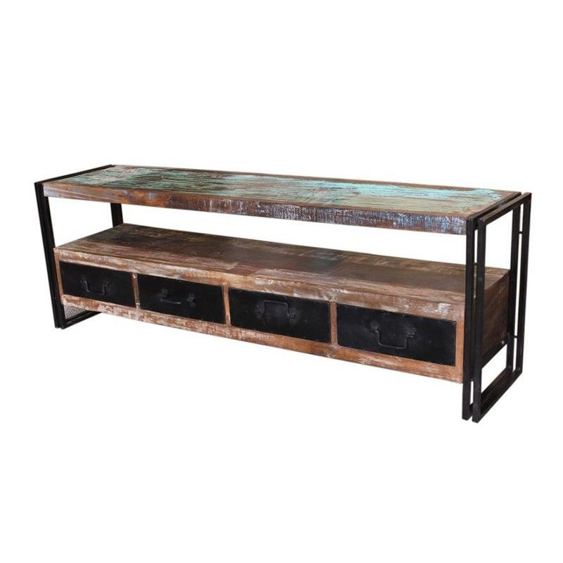 Byron Industrial Solid Timber & Metal 4 Drawer 180cm TV Unit
