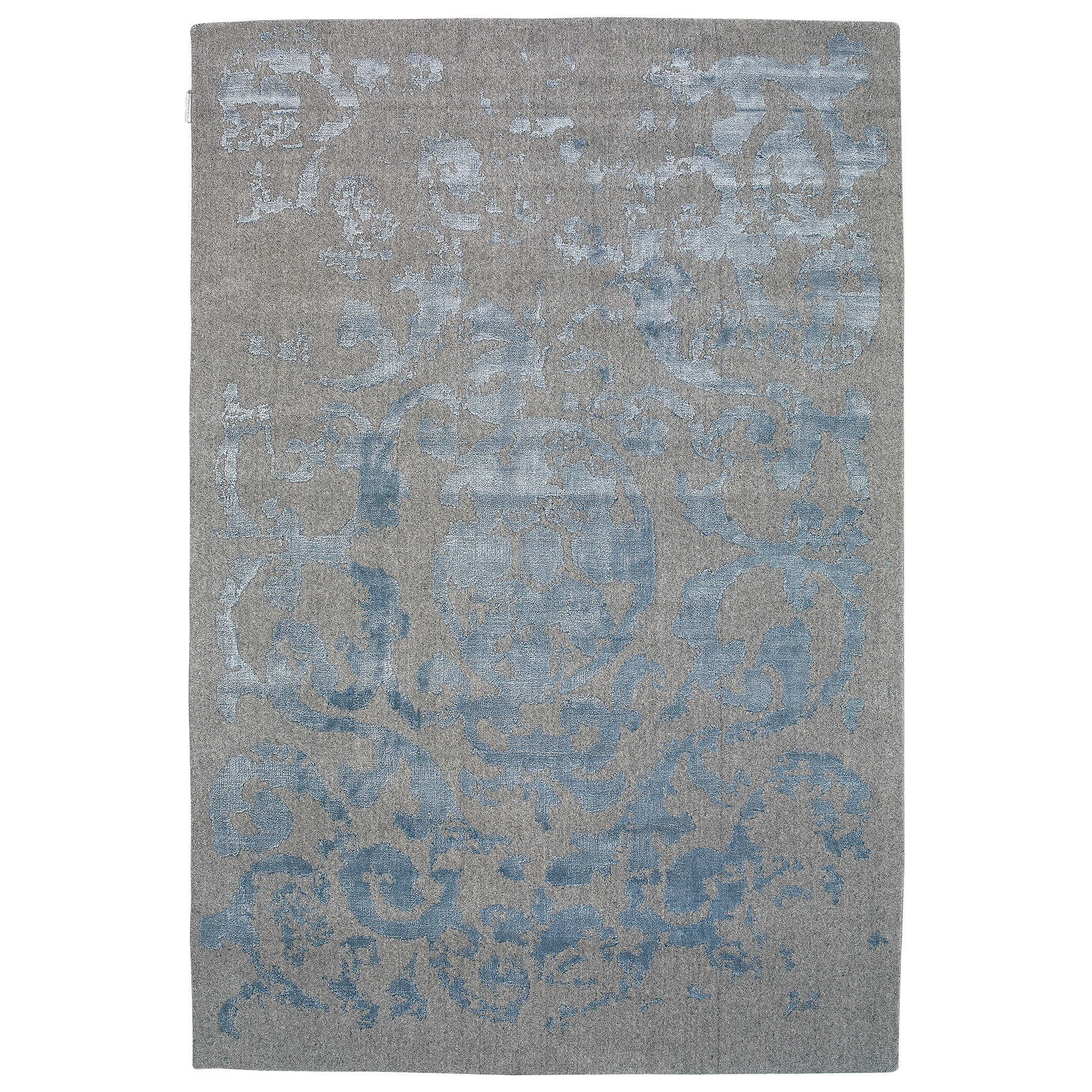 Vienna No.051 Handmade Wool Transitional Rug, 290x200cm, Grey / Blue