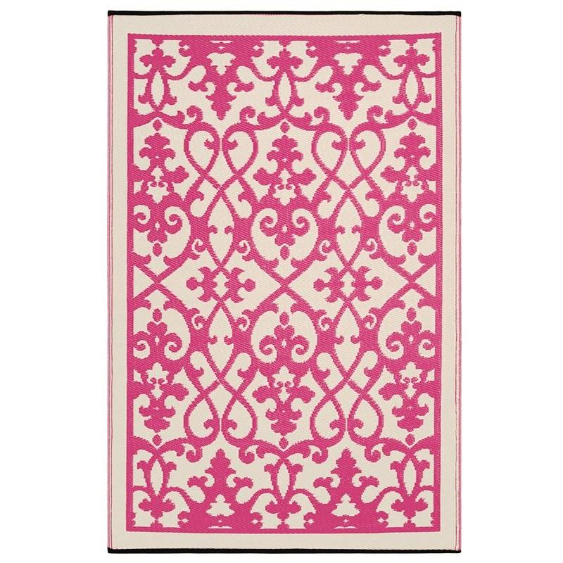 Venice 180x270cm Reversible Outdoor Rug - Pink/Cream