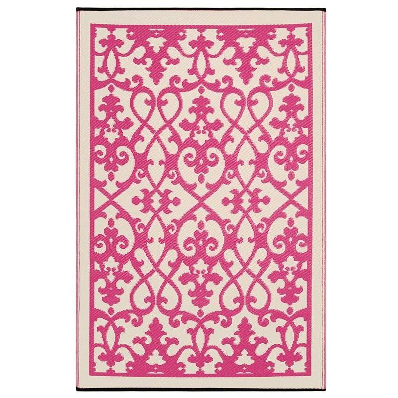 Venice 90x179cm Reversible Outdoor Rug - Pink/Cream