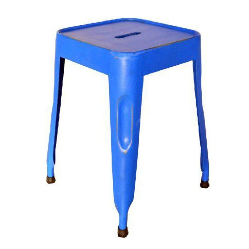 Paris Industrial Iron Table Stool, Blue