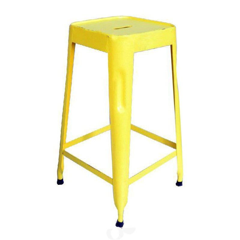 Paris Industrial Iron Counter Stool, Yellow - Distressed