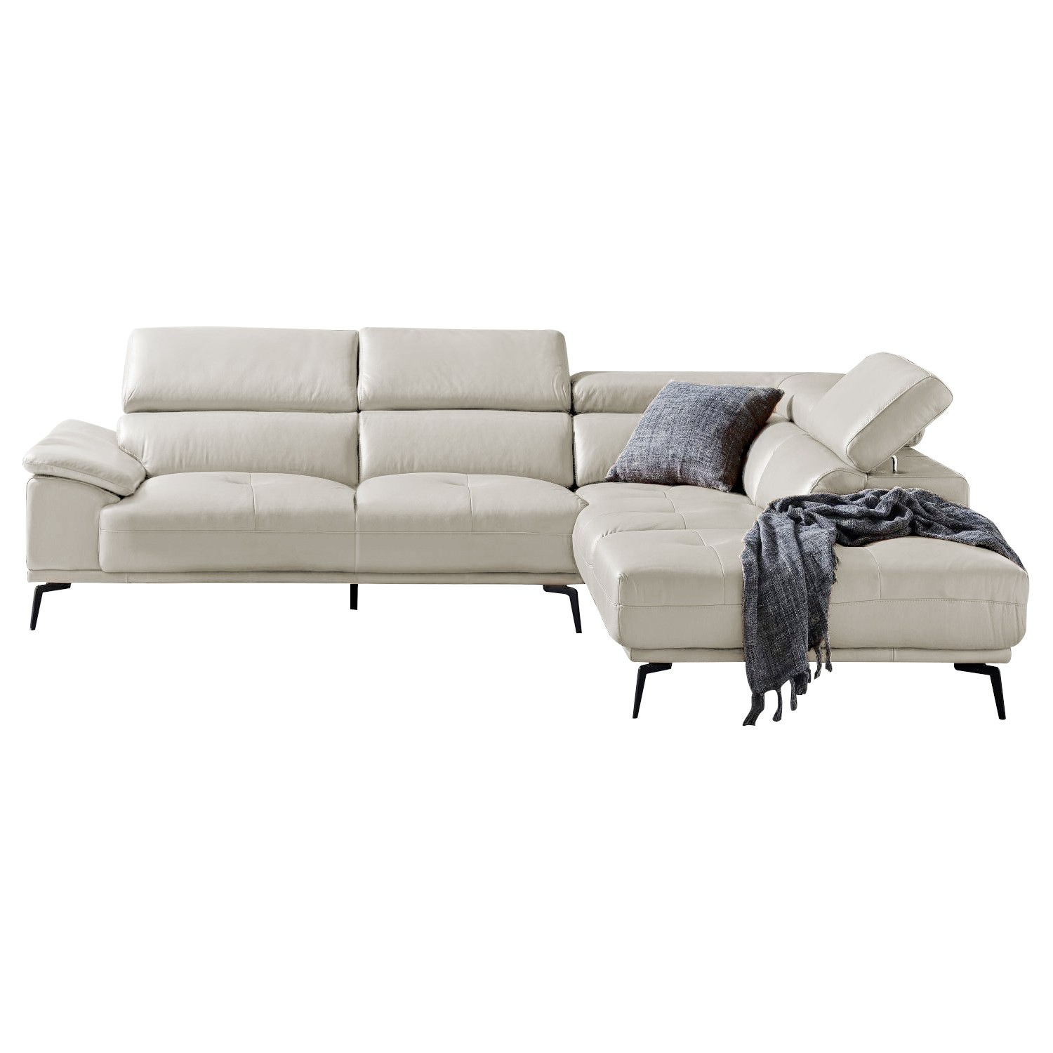 Martella Leather Corner Sofa, 2.5 Seater with Right Hand Facing Terminal, Silver