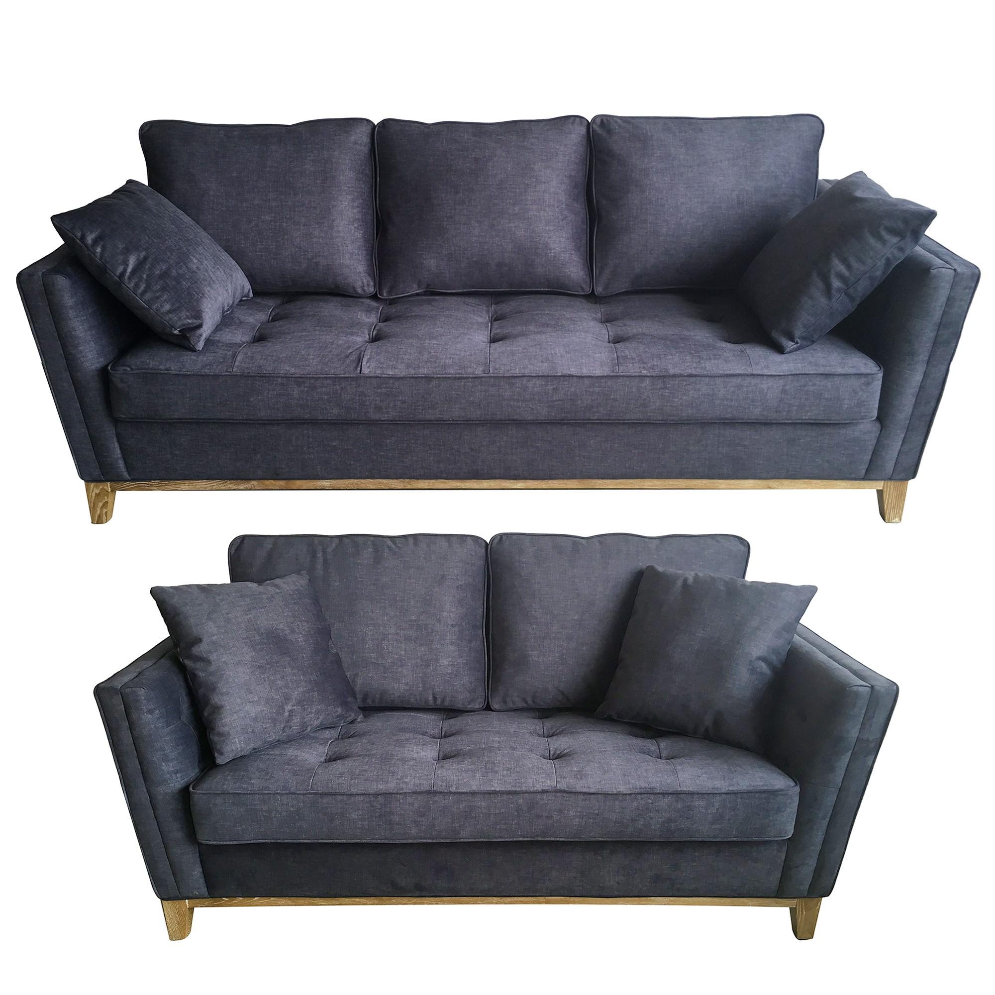 Affie 2 Piece Fabric Sofa Set, 3+2 Seater, Indigo