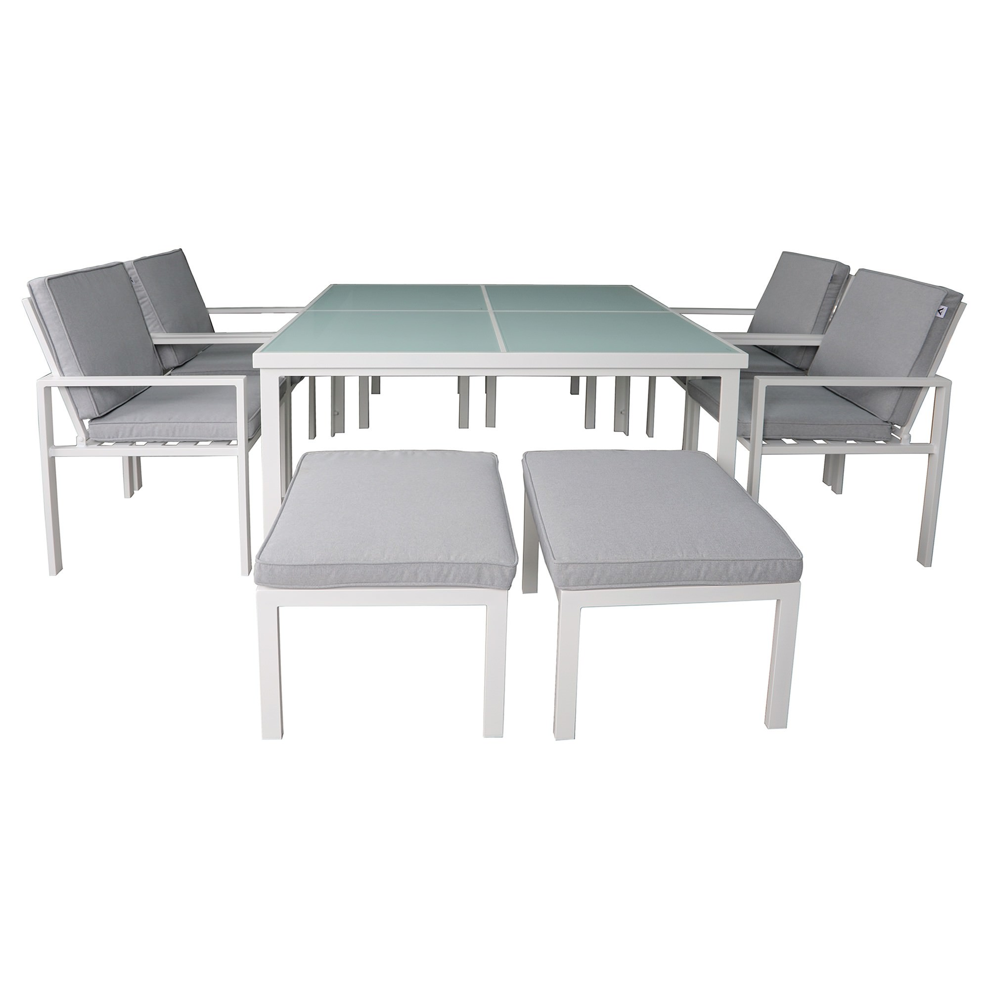 Roxburgh 9 Piece Outdoor Dining Table Set, White
