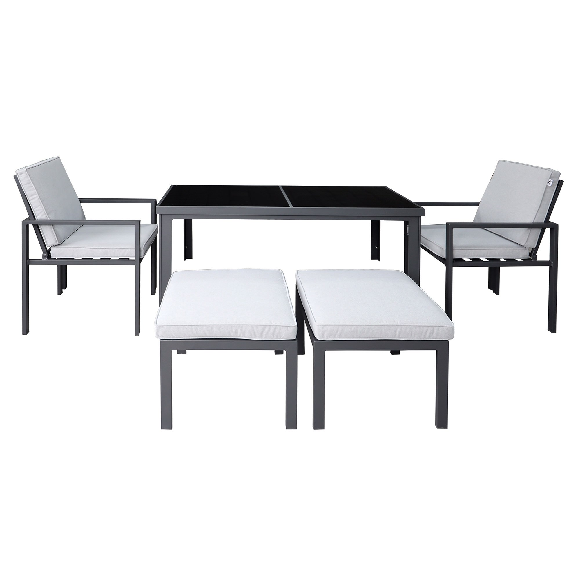 Roxburgh 5 Piece Outdoor Dining Table Set, Gunmetal