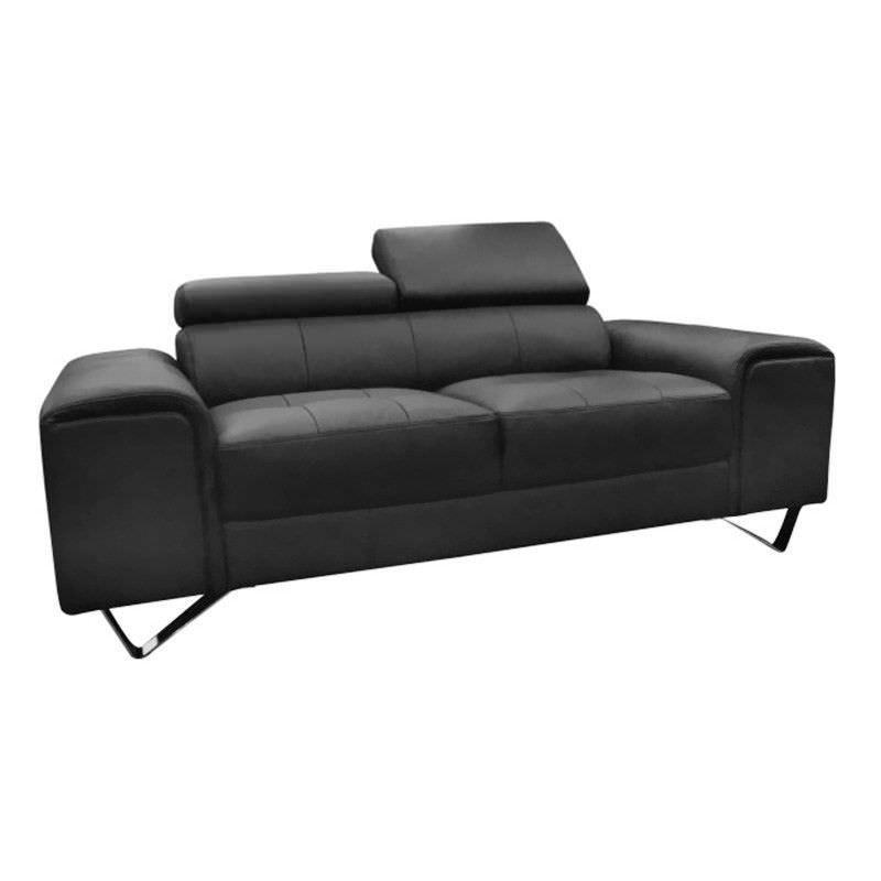 Majorca 2 Seater Leather Sofa, Black