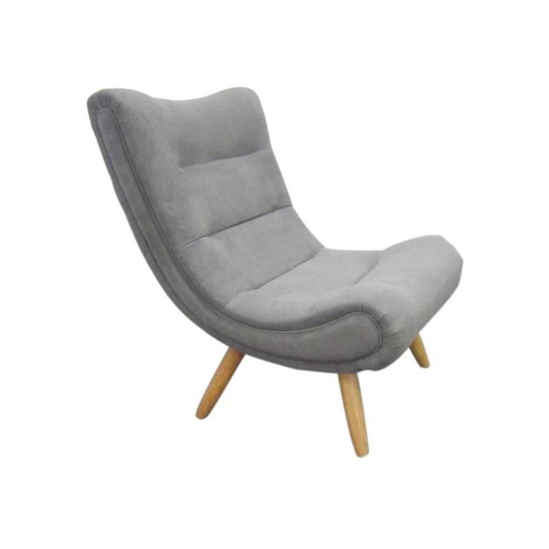 Natalie Fabric Upholstered Lounge Chair - Grey