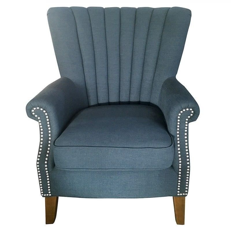 Elara Fabric Uphostered Armchair - Blue
