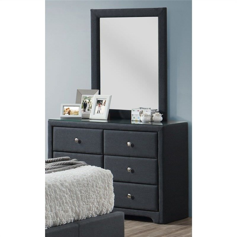 Dominik Fabric 6 Drawer Dresser (Mirror Excluded)