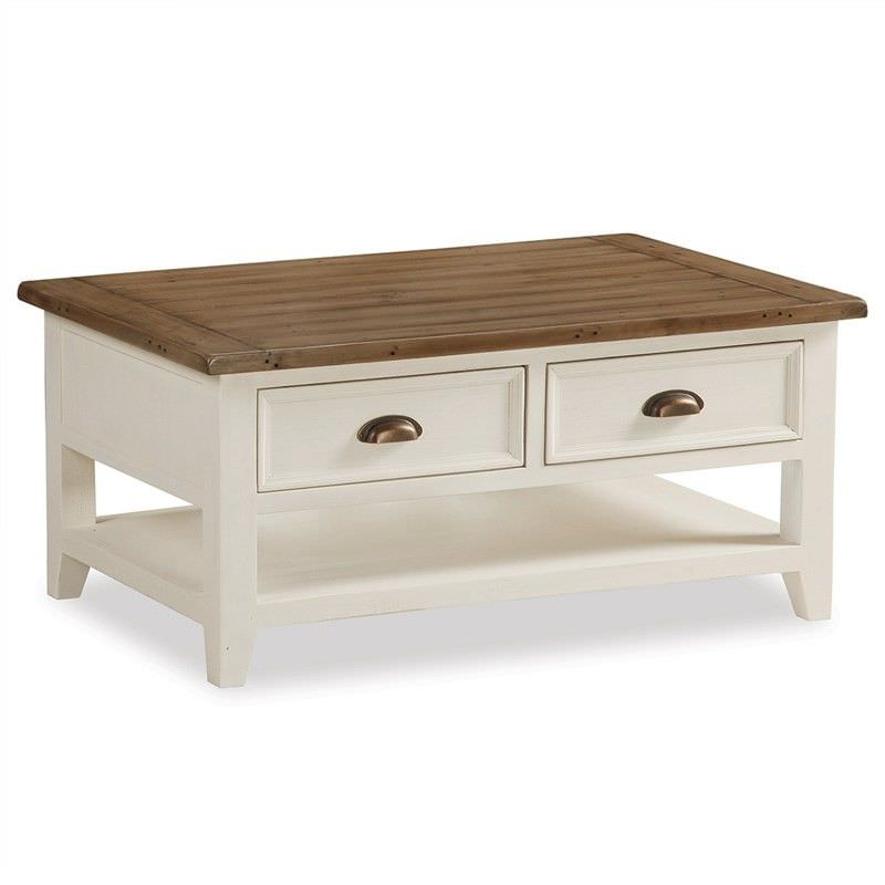 Halsey Solid Pine Timber 2 Drawer 110cm Coffee Table