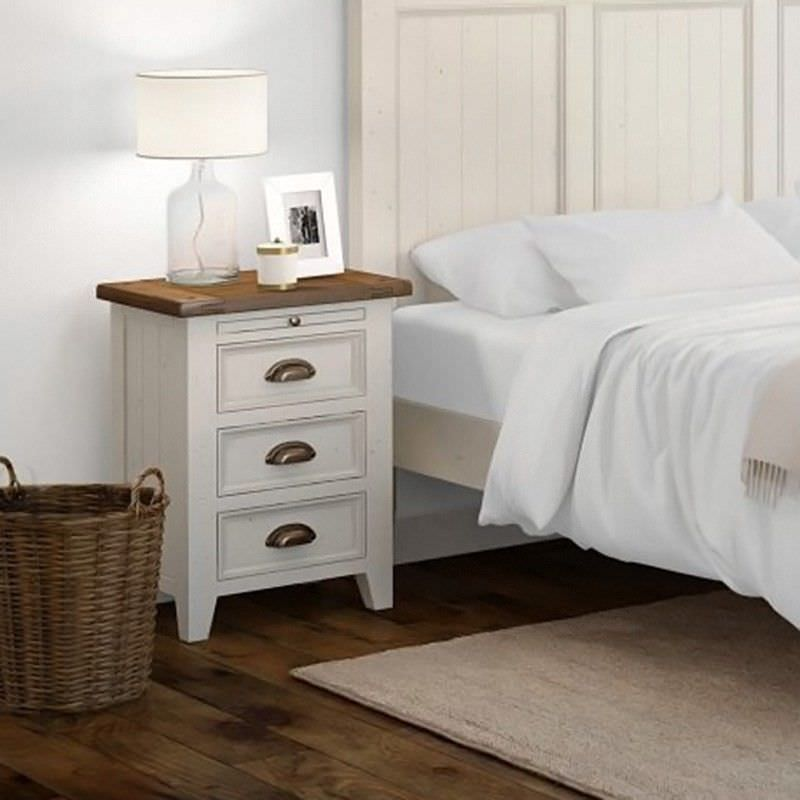 Halsey Solid Pine Timber 3 Drawer Bedside Table