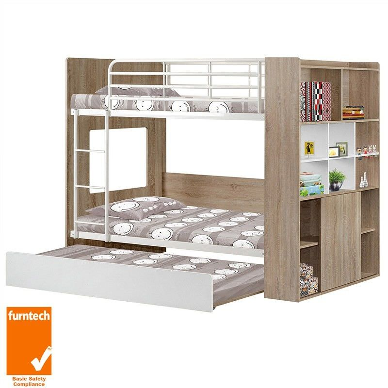 Single Bunk Bed with Trundle Integrated Bookcase