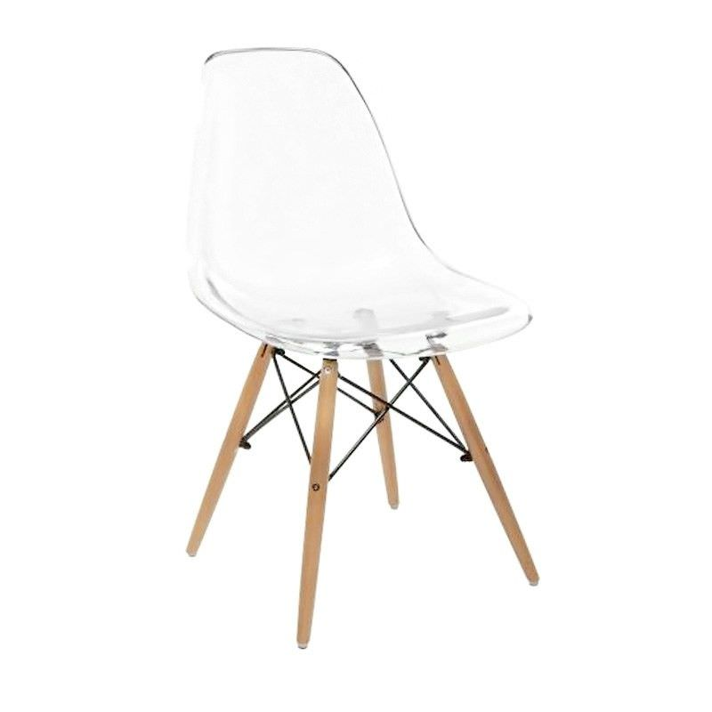 Charles Translucent Dining Chair with Timber Legs - Clear