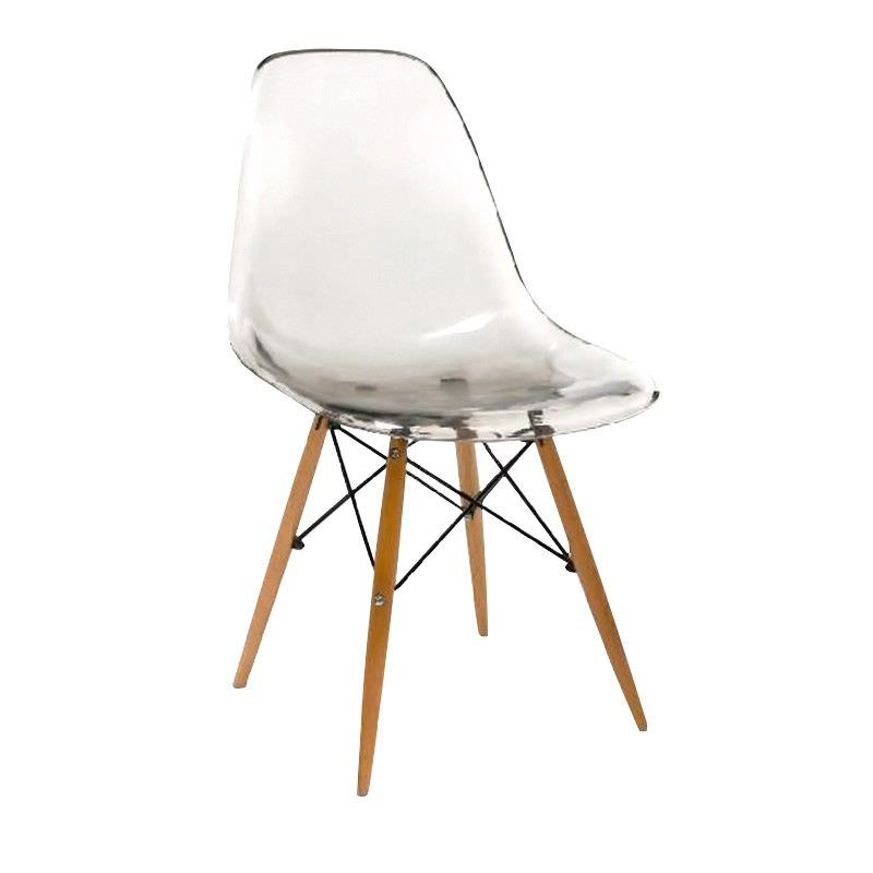 Charles Translucent Dining Chair with Timber Legs - Smoke
