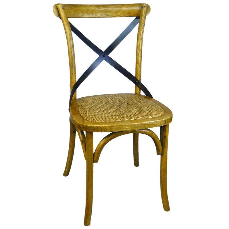 Sherwood Metal Cross Back Oak Timber Dining Chair with Rattan Seat, Natural