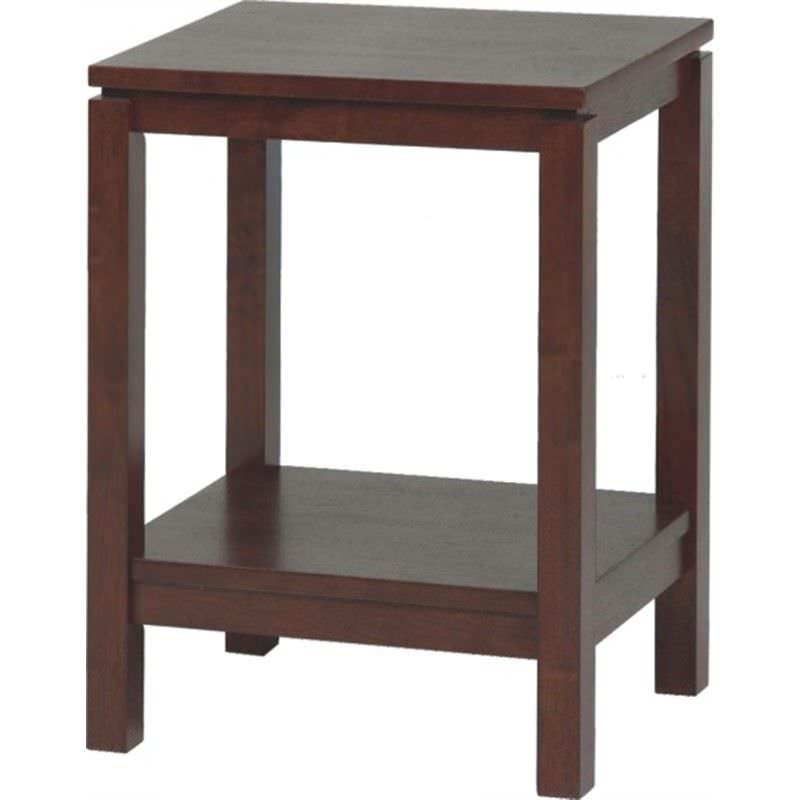 Braque Solid Rubberwood Timber Side Table, Chocolate