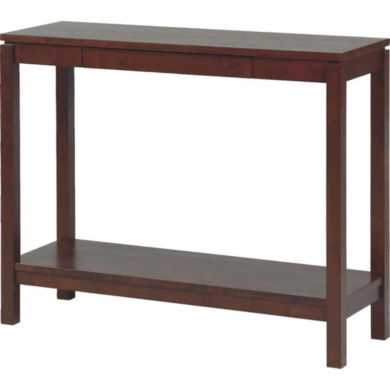 Braque Solid Rubberwood Timber Console Table  - Chocolate