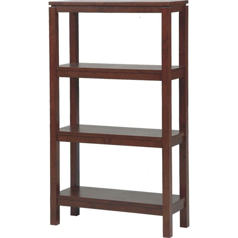 Braque Solid Rubberwood Timber 4 Tier Display Shelf  - Chocolate