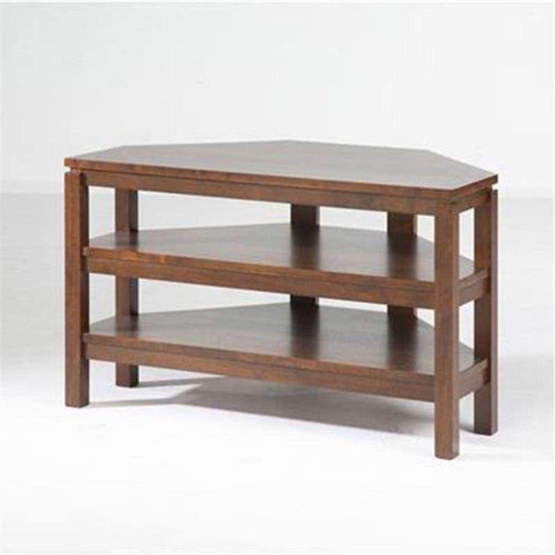 Braque Solid Rubberwood Timber Corner TV Stand - Light Honey