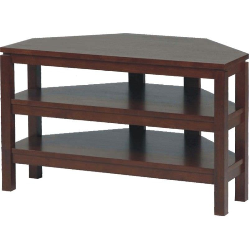 Braque Solid Rubberwood Timber Corner TV Stand - Chocolate
