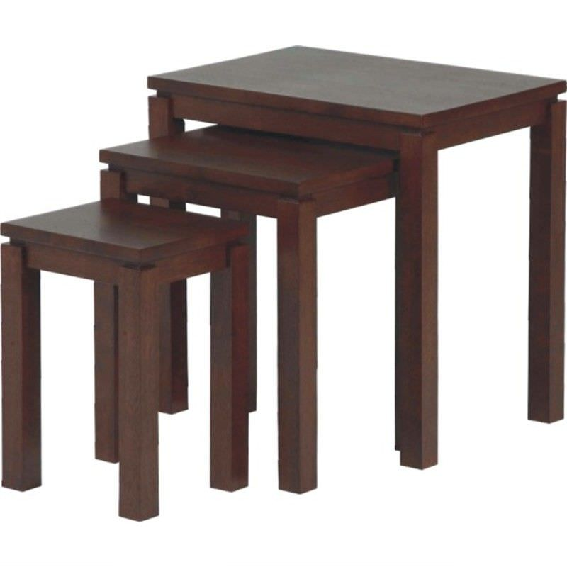 Braque Solid Rubberwood Timber 3 Piece Nesting Table Set, Chocolate