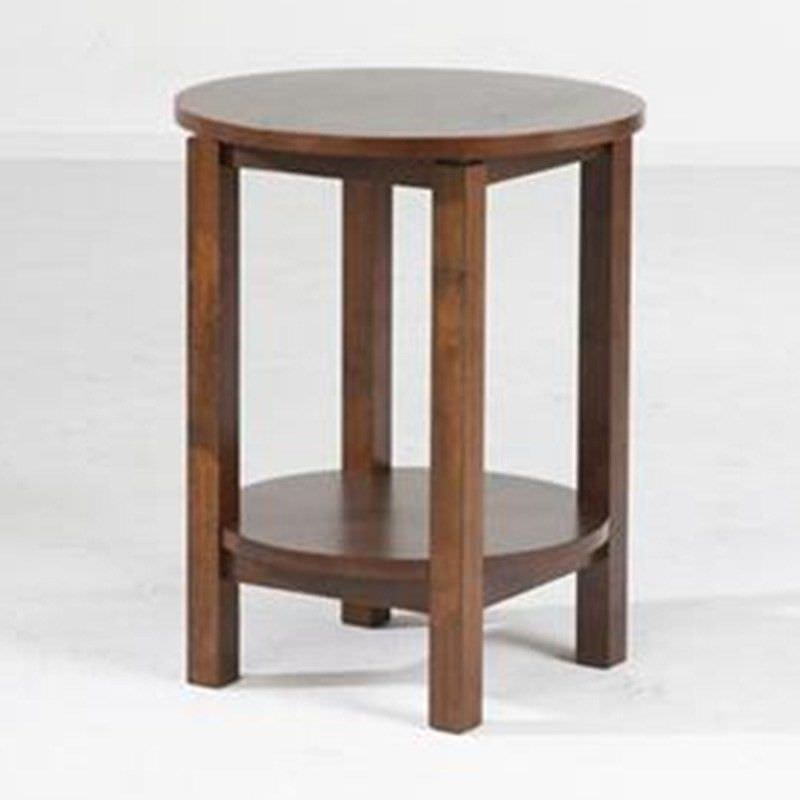 Braque Solid Rubberwood Timber Round Side Table, Light Honey