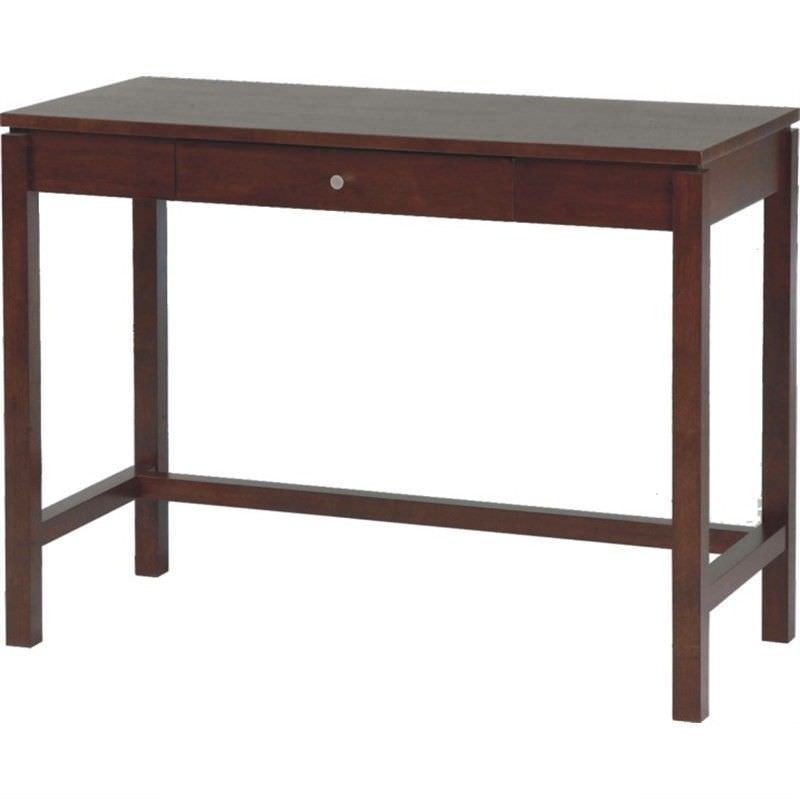 Braque Solid Rubberwood Timber Single Drawer Writing Desk  - Chocolate