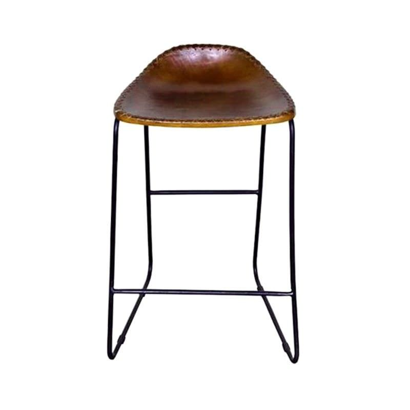 Bachell Learther Seat Metal Frame Counter Stool, Light Brown