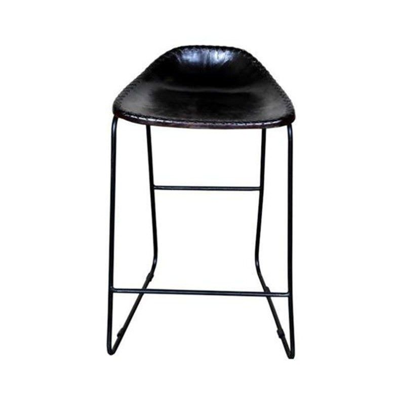 Bachell Learther Seat Metal Frame Counter  Stool, Dark Brown