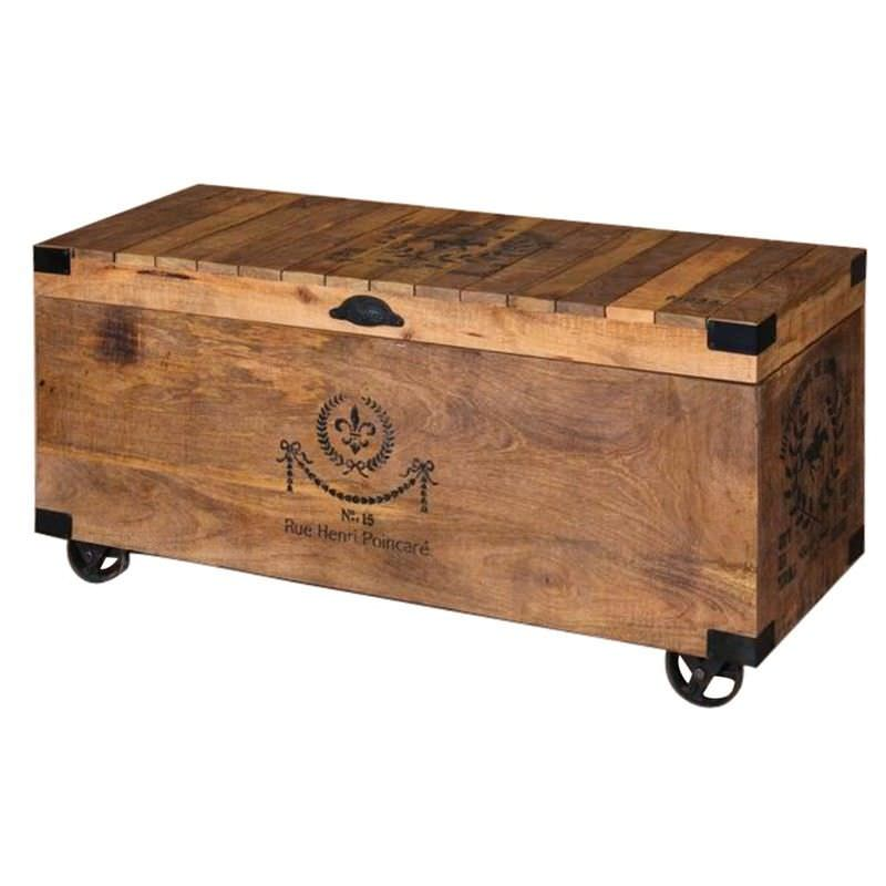 Foison Solid Mango Wood Timber 110cm Trunk Table on Castors