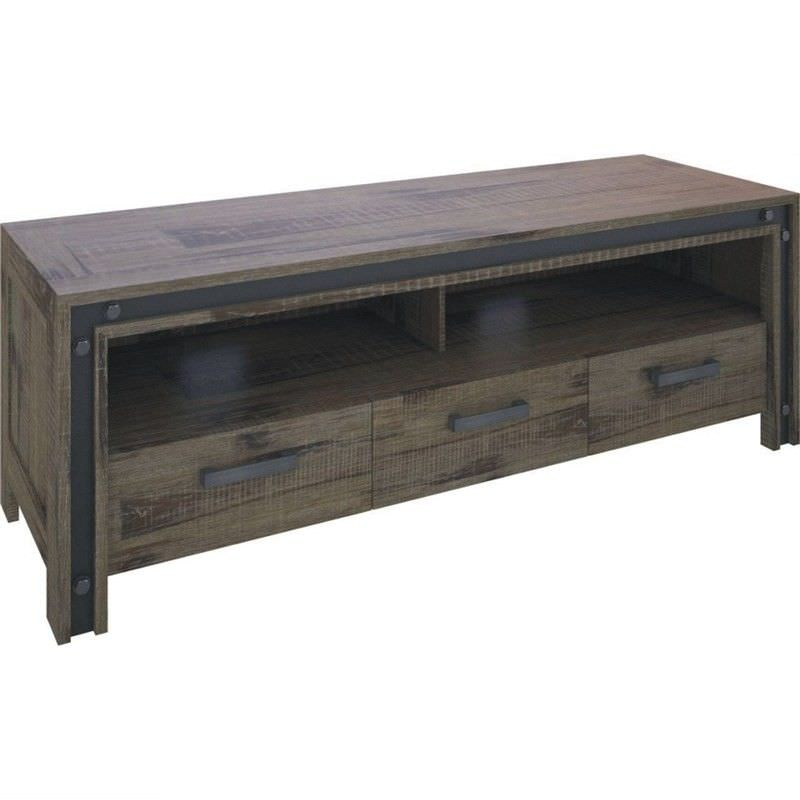 Pittsfield Solid Acacia Timber 3 Drawer 165cm TV Unit