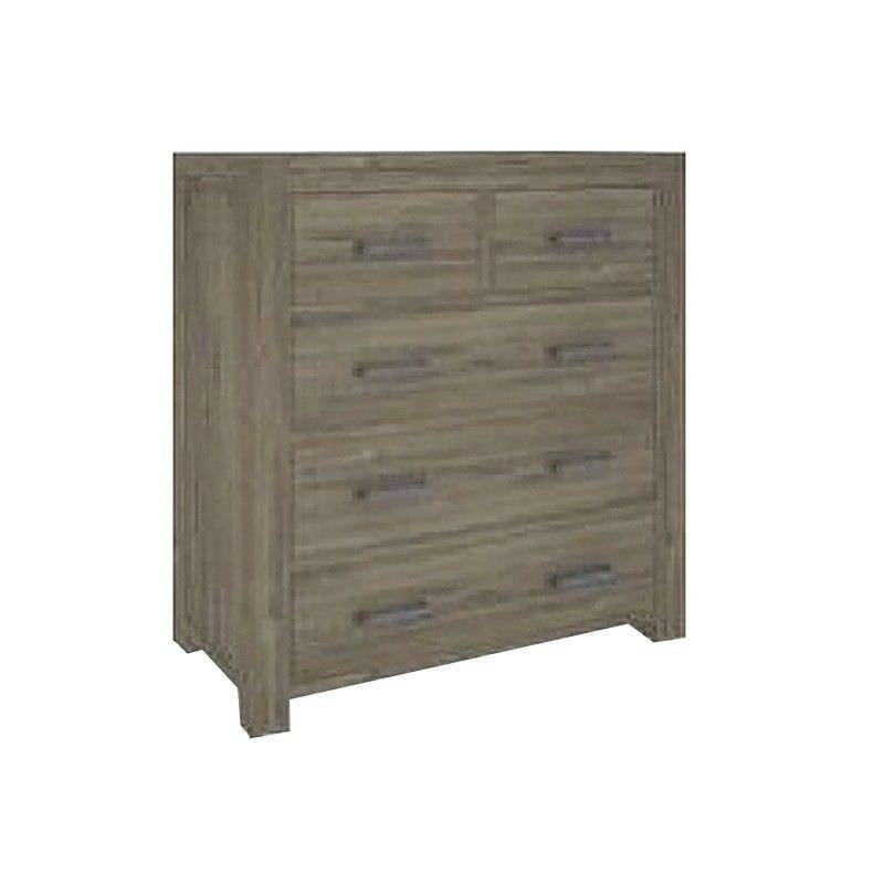 Yarsley Solid Acacia Timber 5 Drawer Tallboy