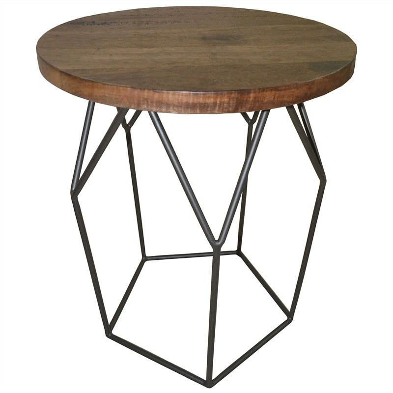 Pekisko Solid Timber and Metal Round Side Table
