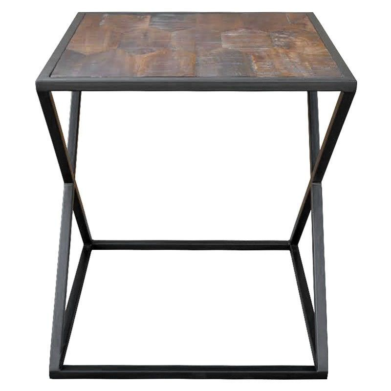 Kato Solid Mango Wood Timber and Iron Square Side Table
