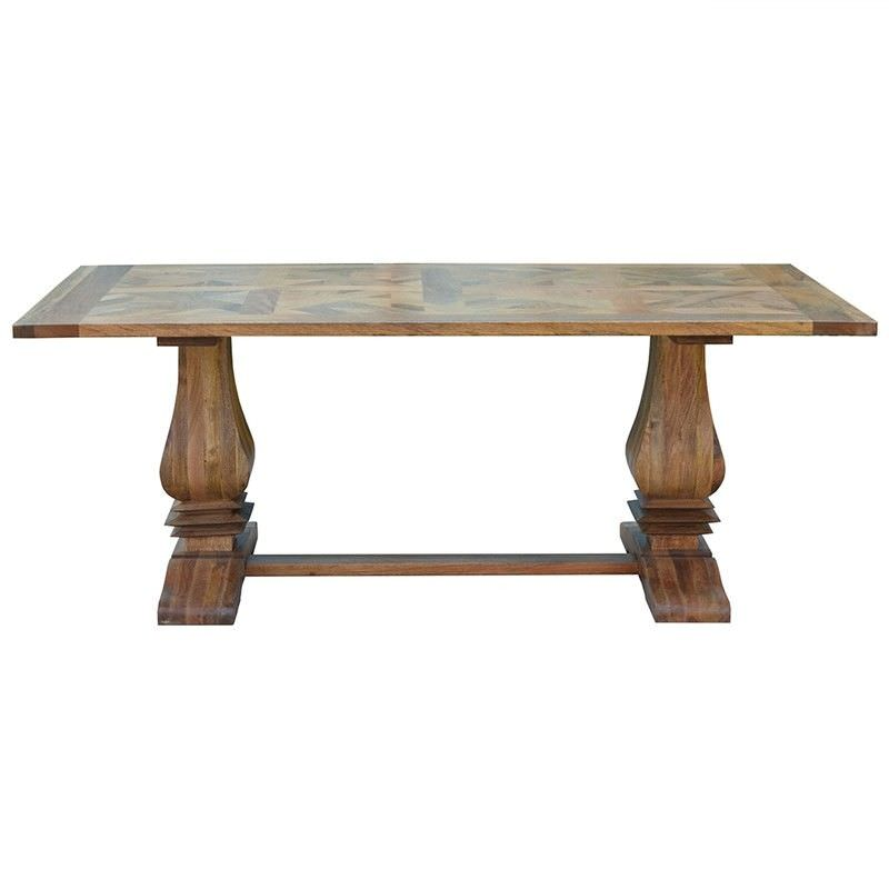 Morgan Solid Mango Wood Timber Parquetry Dining Table, 200cm