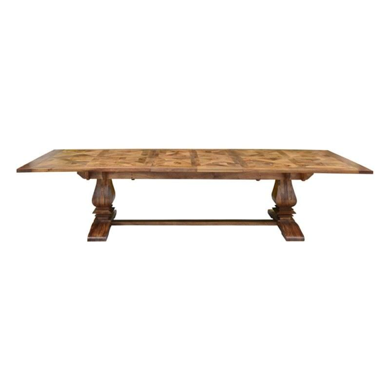 Morgan Solid Mango Wood Timber Parquetry Double Extention Dining Table, 258-348cm