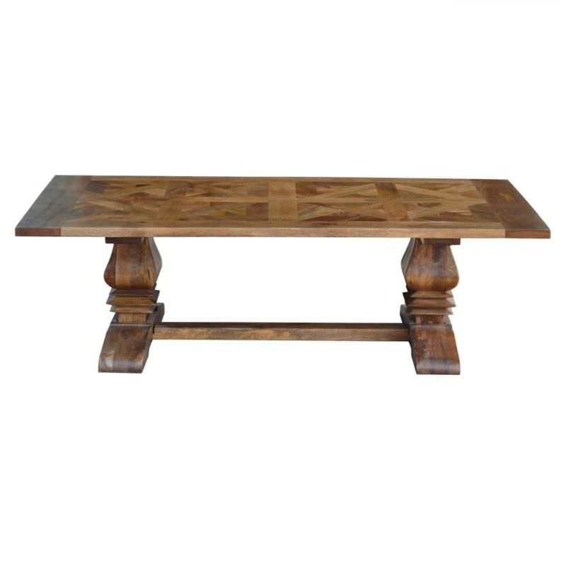 Morgan Solid Mango Wood Timber Parquetry Coffee Table, 140cm