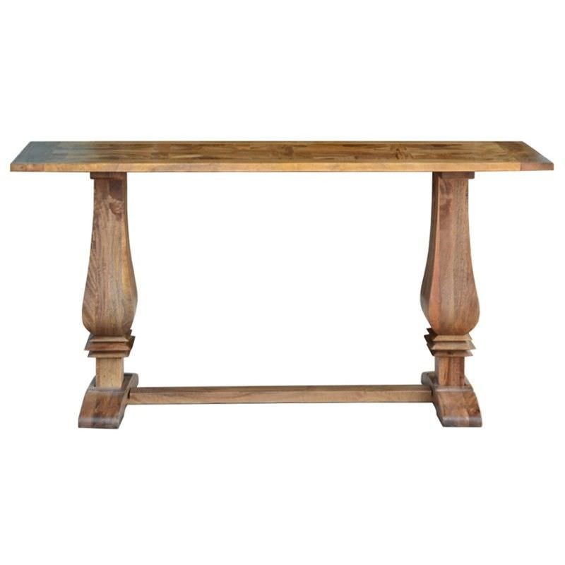 Morgan Solid Mango Wood Timber Parquetry Console Table, 160cm