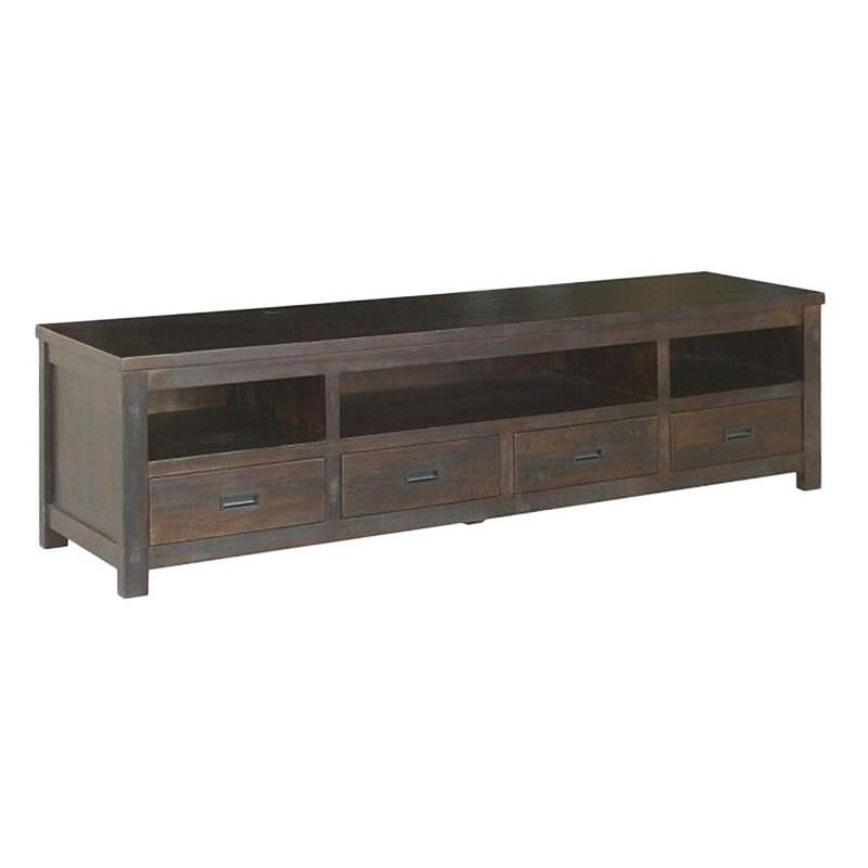 Pluto Solid Mango Wood Timber 4 Drawer TV Unit, 220cm, Chocolate