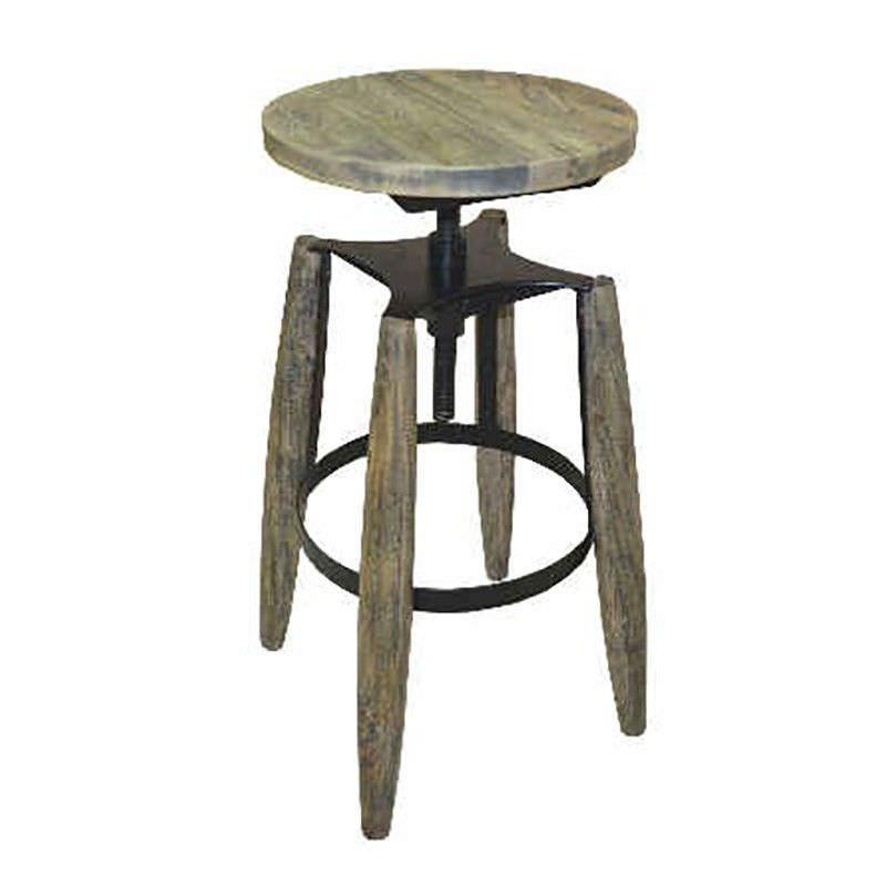 Hemlock Solid Timber and Metal Round Adjustable Stool, Distressed Black