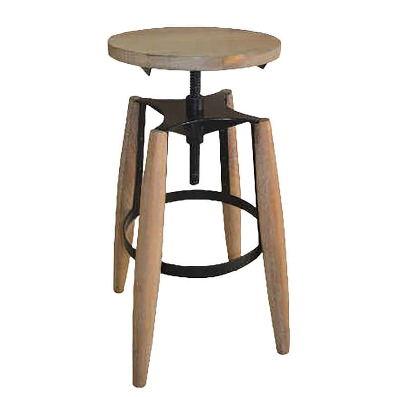 Hemlock Solid Timber and Metal Round Adjustable Stool, French Grey