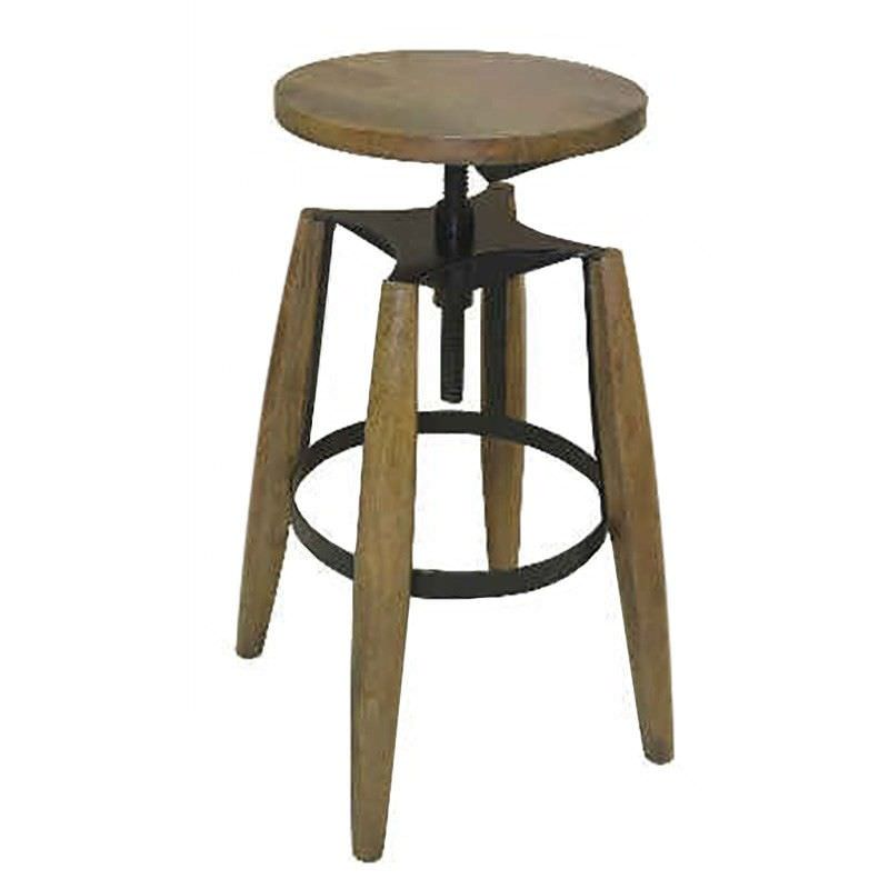 Hemlock Solid Timber and Metal Round Adjustable Stool, Honey Wash