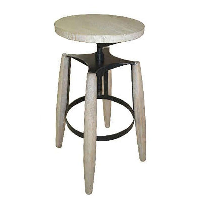 Hemlock Solid Timber and Metal Round Adjustable Stool, White Wash