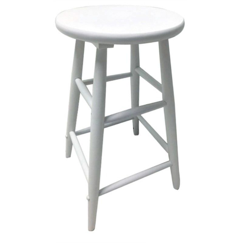 Fred Solid Timber Scoop Seat Counter Stool White