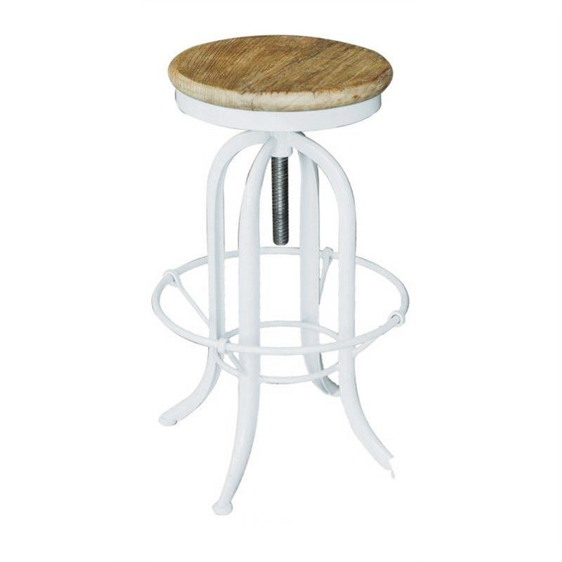 Conrad Industrial Adjustable Metal Bar Stool with Elm Timber Seat, Natural/White